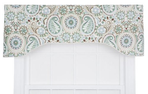 Ellis Curtain Paisley Prism Jacobean Floral Print Lined Arched Valance, 50 by 17-Inch, (Latte Window Valance)