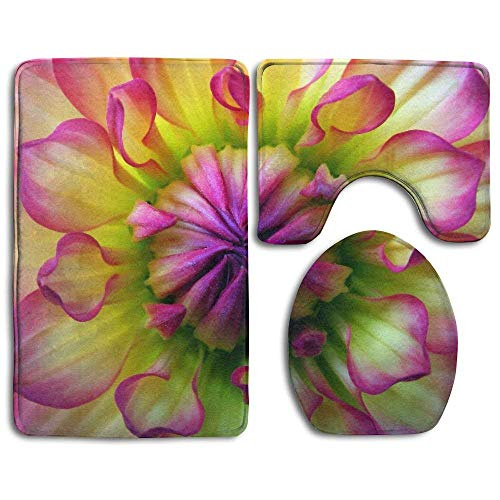 NEWcoco Bath Mat 3 Piece Flannel Bathroom Rug Set,Colorful Dahlia Wallpaper Design Shower Mat and Toilet Cover, Non Slip and Extra Soft Toilet Kit, Anti Slippery Rug