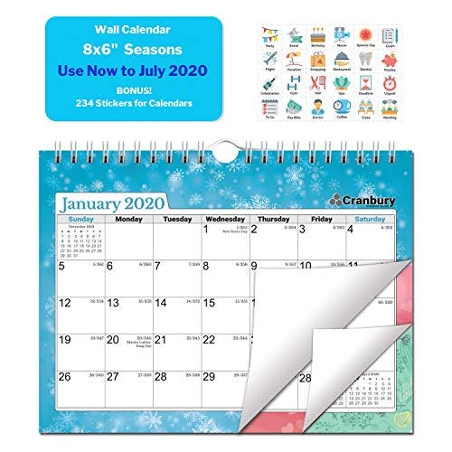 Small Academic Calendar 2019-2020 (Seasons) 8x6 Monthly Wall Calendar, Use Now to July 2020, Hanging Academic Calendar with Stickers for Calendars, Monthly Wall Calendar by Cranbury (Best Mini Fridge 2019)