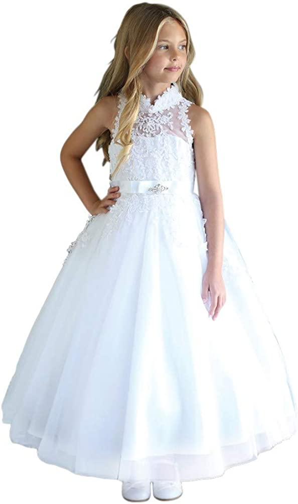 Angels Garment Girls White High-Neck Sleeveless Sequin Communion Dress 6-16