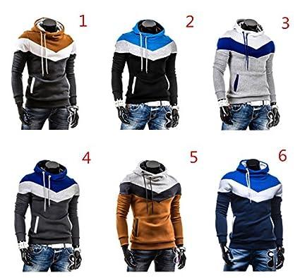 Amazon Com Junsi Men Casual Long Sleeved Color Matching Top