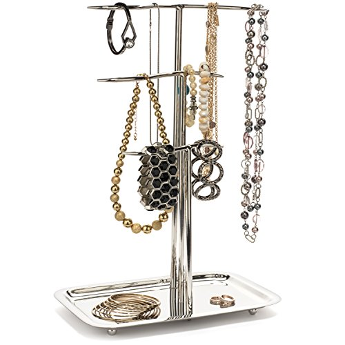 H Potter Jewelry Tree Organizer 3 Tier Chrome Display Stand with Tray Hanging Storage Holder for Necklaces Bracelets Rings Earrings Watches Gar604