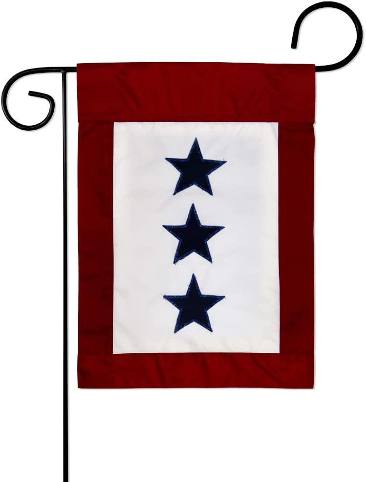 Breeze Decor Three Blue Stars Service Garden Flag Armed Forces All Branches Support Honor United State American Military Veteran Official House Banner Small Yard Gift Double-Sided, Imported