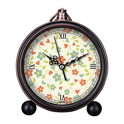 - Girlsight Art Retro Living Room Decorative Non-ticking, Easy to Read, Quartz, Analog Large Numerals Bedside Table Desk Alarm Clock-B4187.Floral Wallpaper