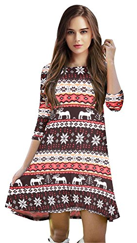 Christmas Holiday Costumes (Casual Knee-Length Lose Fit Tunic Dress for Women Christmas Holiday)