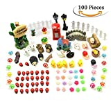 100 pcs Miniature Fairy Garden Dollhouse Ornaments Home Outdoor Plant Decoration DIY Décor Kit