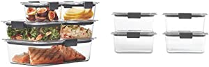 Rubbermaid Brilliance Leak-Proof Food Storage Containers with Airtight Lids, Set of 5 & Stain Resistant & Brilliance Food Storage Container, BPA-Free Plastic, Medium Deep, 4.7 Cup, 4-Pack, Clear