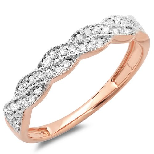 (Dazzlingrock Collection 0.25 Carat (ctw) 14K Diamond Ladies Wedding Stackable Band Swirl Ring 1/4 CT, Rose Gold, Size 6)