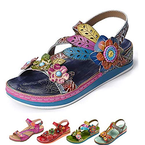 gracosy Leather Sandals for Women, Summer Flat Sandals Colorful Flower Splicing Dress Shoes Slippers Handmade Slip on Blue-s 8 M US ()