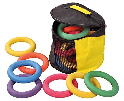 15 Moosgummi-Tennisringe, Wurfring, Für Wurftraining, Schwimmen, uvm., Ø je Ring: 16,5 cm, in praktischer Nylon Aufbewahrungstasche