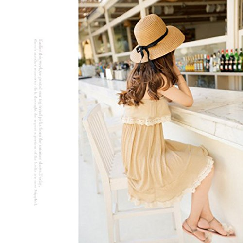 Naimo Simple Fashion Folding Women's Summer Beach Hat Straw Floppy Sun Hat (Coffee)