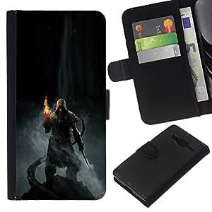 YiPhone /// Tirón de la caja Cartera de cuero con ranuras para tarjetas - Dracónido héroe - Samsung Galaxy Core Prime