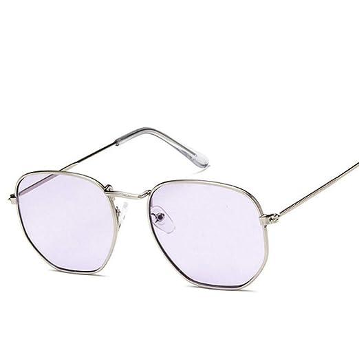 Yangjing-hl Polígono Gafas de Sol cuadradas claras Mujeres ...