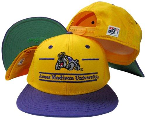 (James Madison Dukes Classic Split Bar Snapback Adjustable Plastic Snap Back Hat/Cap)