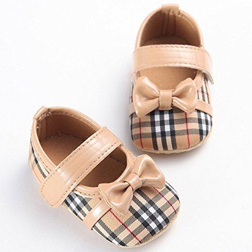 etrack-online Bañador Rayas Bow-knot suave soled Prewalker zapatos de Mary Jane rojo rosso Talla:12-18month caqui