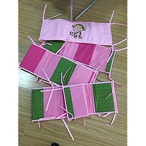 Elephant Zebra Giraffe Hippo Turtle Nursery Crib Bedding Set 9 PCs Pink Cartoon Animals Baby Bedding Set with Diaper Stacker & Blanket for Baby Girl
