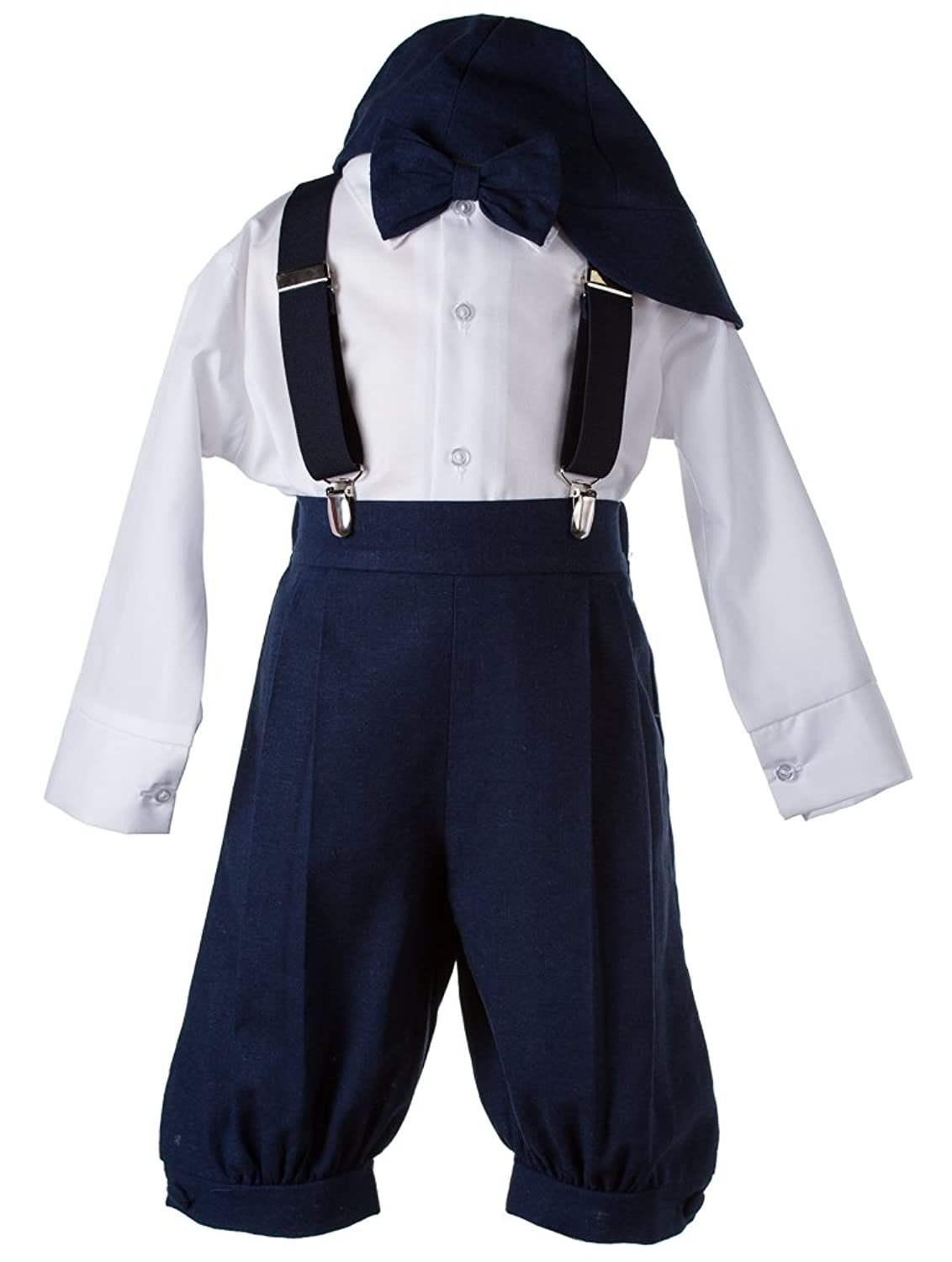 Vintage Style Children's Clothing: Girls, Boys, Baby, Toddler Boys Navy Linen Knicker 5 Piece Outfit $32.95 AT vintagedancer.com