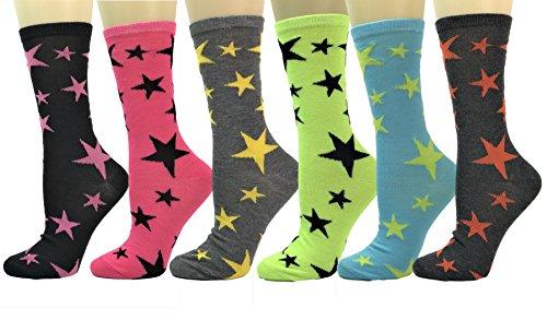 (Women's Crew Socks Argyle,Novelty,Fun Design or Plush Cozy Multi-Color Pack of 6 (Stars-6pk))