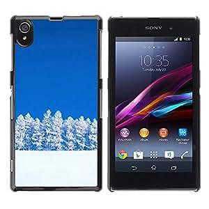 Be Good Phone Accessory // Dura Cáscara cubierta Protectora Caso Carcasa Funda de Protección para Sony Xperia Z1 L39 C6902 C6903 C6906 C6916 C6943 // Nature Snowy Trees