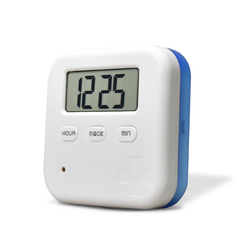 Anole Mini Portable Daily Vitamin/Pills Box Case with Digital Screen Alarm Clock Reminder for Travel Trip Working Outdoor 4 lattices Blue