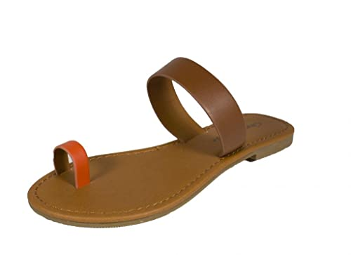 Women's Credit Toe Strap Flat Sandals in Dark Tan Orange Leatherette