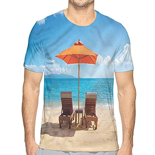 Funny t Shirt Coastal,Two Chairs Caribbean Sea Men's and Women's t Shirt XL