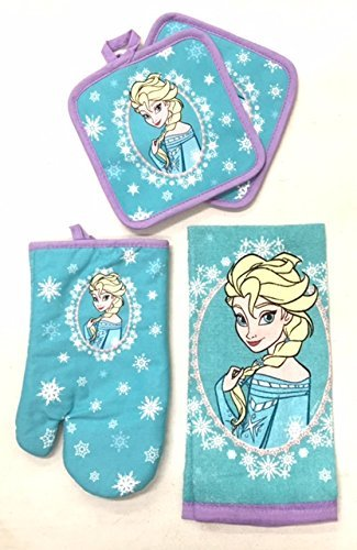Disney Frozen 4 pc Kitchen Set - Kitchen Towel, Oven Mitt & 2 Pot Holders
