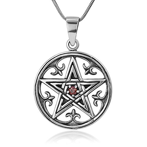 925 Sterling Silver Fleur De Lis Pentacle Pentagram Amulet Protection Red CZ Pendant Necklace, 18