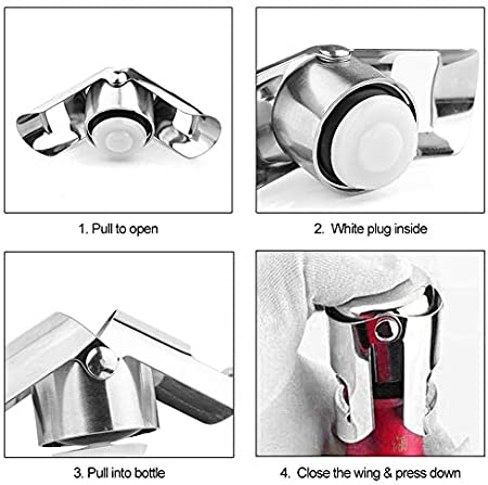 Tapón de Botella de Vino,Tapón De Vino Tapón De Champán Para Botella De Vino,Tapón de Vino Espumoso para Vino,Tapón de Rosca, Accesorios de Barra Regalo,Tapón para Botella de Champán (Plata 3+3 PCS)