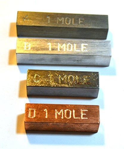 """Mole Set - 4 Metal Bars That Represent""""1 Mole"""" of The Element - Copper, Iron, Zinc, Aluminum"""
