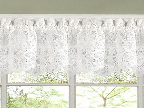 Sweet Home Collection Old World Style Floral Heavy Lace Kitchen Curtain Valance, Hopewell White ()