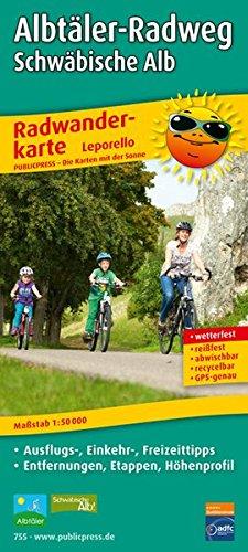 Albtäler-Radweg, Schwäbische Alb: Leporello Radtourenkarte mit Ausflugszielen, Einkehr- & Freizeittipps, wetterfest, reißfest, abwischbar, GPS-genau. 1 : 50 000 (Leporello Radtourenkarte / LEP-RK)