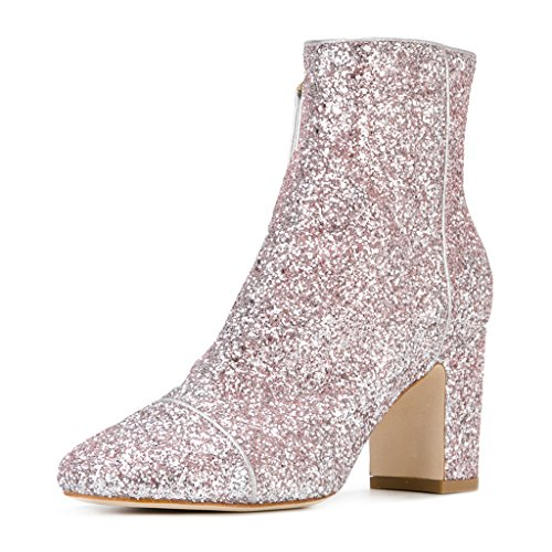 FSJ Women Round Toe Chunky High Heels Glitter Ankle Boots with Side Zipper Shoes Size 11 Pink