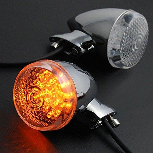 Candance(TM)2x Chrome 20 Amber LED Turn Signal Blinker Light Lighting For Motorcycle Cruiser Chopper Honda Shadow Yamaha V Star