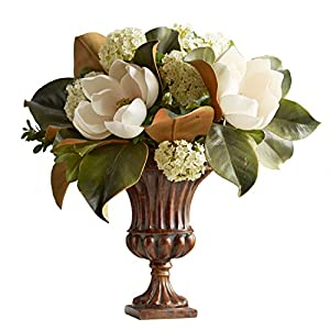 "Faux Magnolia Flower Arrangement in Fluted Urn 16""H 1"