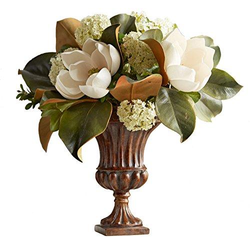 """Urn Fluted Large (Faux Magnolia Flower Arrangement in Fluted Urn 16""""H)"""
