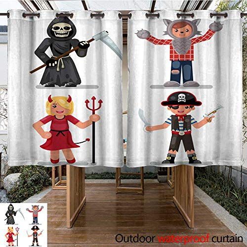 RenteriaDecor Outdoor Curtains for Patio Waterproof Halloween Costume Children Masquerade Party Kids Characters Icons Set Flat Design Vector Illustration W108 x L72 ()