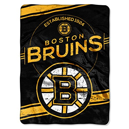 The Northwest Company Officially Licensed NHL Boston Bruins Stamp Plush Raschel Throw Blanket, 60
