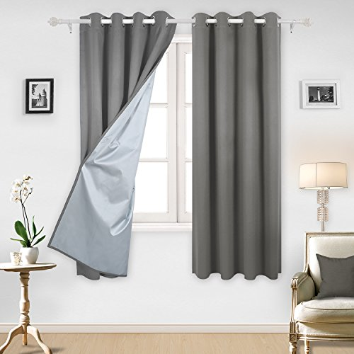 Cheap Deconovo Blackout Curtains Pair Grommet Curtains with Backside Silver for Baby Bedroom 52W x 72L Inch Light Grey 2 Panels