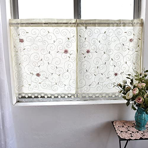 Country Style Kitchen Curtain, Cafe Curtain, Dining Room Curtain,Patterns of Leaves and Flowers H 35 inch W 60 inch 90x150cm