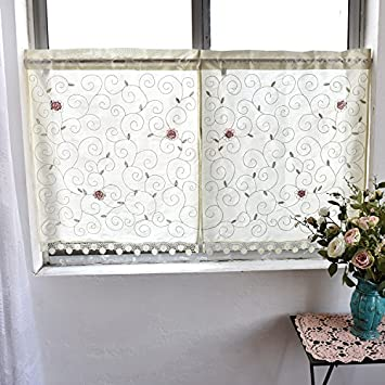 Country Style Kitchen Curtain, Cafe Curtain, Dining Room Curtain,Patterns  of Leaves and Flowers (H 24 inch W 60 inch (60x150cm))
