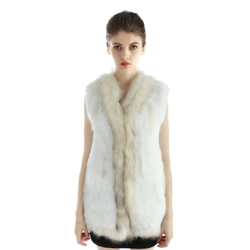OLLEBOBO Women's Genuine Rabbit Fur Knitted Long Vest with Collar Size 3XL White