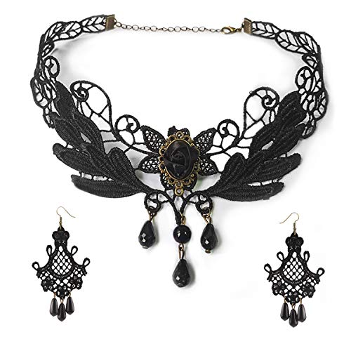 Black Lace Necklace Earrings Set - Gothic Lolita Pendant Choker Clothing Accessories for Wedding Birthday Hallowen Christmas (Black1)