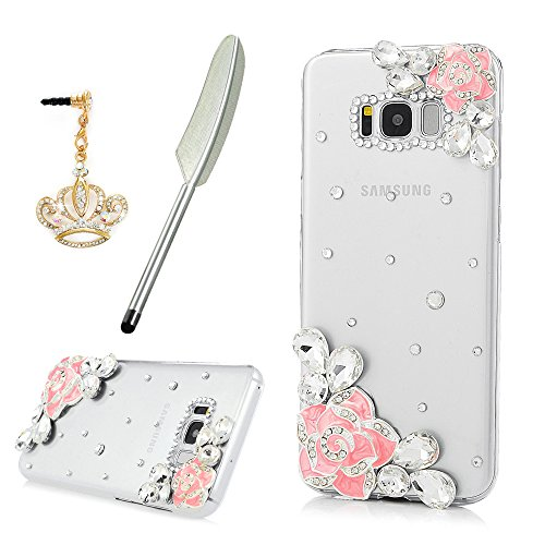 Galaxy S8 Plus Case, YOKIRIN Crystal Clear Transparent Handmade Bling Shiny Crystal Diamond Design PC Hard Shell Full Protective Case Cover for Samsung Galaxy S8 Plus, Pink Rose