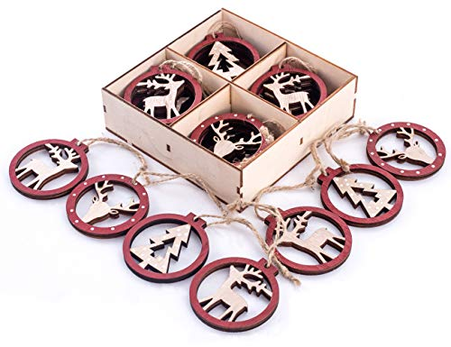 Reindeer Christmas Ornaments (Christmas Hanging Ornament Décor,Wooden Round Fretwork Reindeer and Tree Christmas Decorations,Decorating Christmas Tree,Party,House,Etc (Pack of)