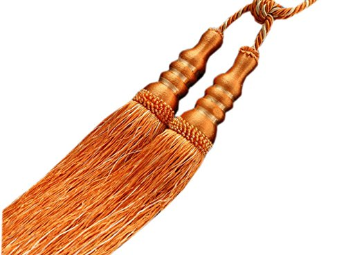 EleCharm Pair of Creative Gourd Tassel Curtain Rope Tiebacks Home Decoration (Orange)