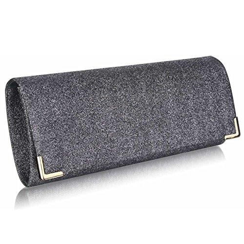 Bolso de mano para mujer, diseño de cristal, de fiesta, de noche Grey Glitter Clutch Bag