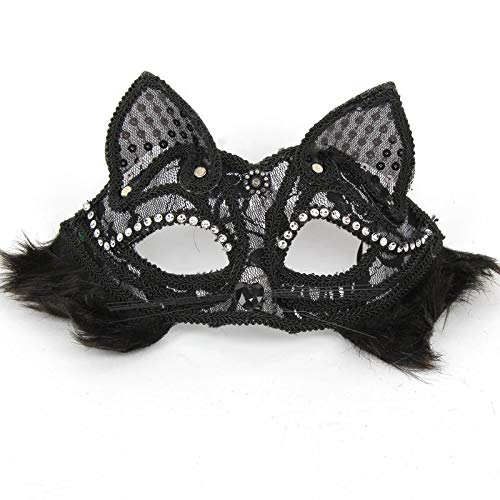 Gogoodgo Women's Lace Veil Headdress Half Face Banquet Cosplay Party Costume Mask Masquerade Fancy Masks