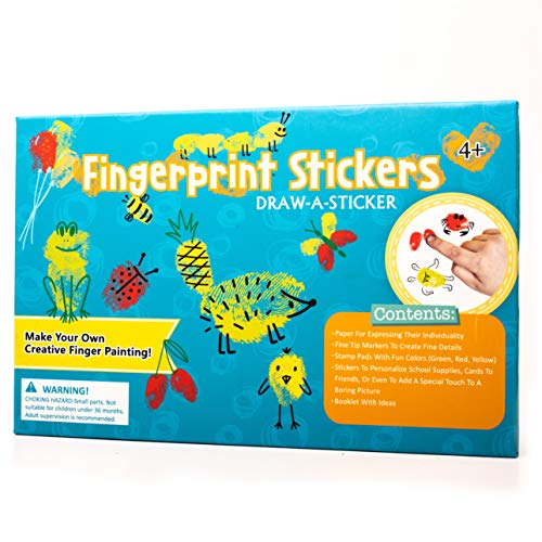 Fingerprint Art Set for Kids | Create Thumbprint Drawing Art on Round and Square Stickers | Finger-Paint Imagination Play | Educational Toy and Creativity Kit | The for Boys and Girls