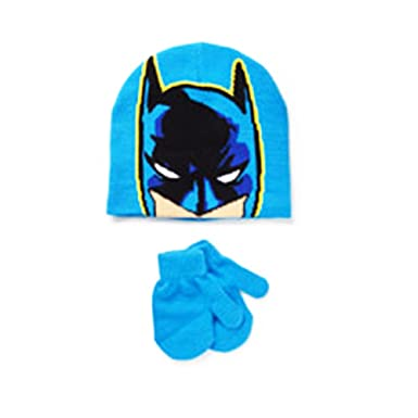 dc5b394a1c1 Amazon.com  DC Comics Batman Winter Hat and Mittens Set Toddler Boy 2T-5T   Clothing